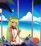 1girl :d ahoge animal_ears arm_support bangs beach bell bird black_legwear blue_sky blush breasts brown_eyes cat_ears clouds commentary cup dark_skin day dress drinking_straw eyebrows_visible_through_hair facial_mark fang green_hair hair_between_eyes halloween halloween_basket holding holding_cup horizon jingle_bell long_hair looking_away maodouzi mask mask_on_head ocean open_mouth original outdoors palm_tree plastic_cup pumpkin sand sitting skull_mask sky sleeveless sleeveless_dress small_breasts smile solo sparkle thigh-highs tree very_long_hair white_dress