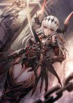 1girl absurdres armor bangs blurry breastplate breasts chains closed_mouth depth_of_field dutch_angle gauntlets hair_between_eyes highres holding holding_sword holding_weapon horns looking_at_viewer original panamuru pauldrons red_eyes serious slit_pupils solo standing sword vambraces weapon white_hair