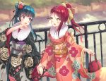 2girls :d black_kimono blue_hair bow brown_bow day eye_contact eyebrows_visible_through_hair floating_hair floral_print flower fur_trim hair_between_eyes hair_bow hair_bun hair_flower hair_ornament hair_ribbon hand_holding high_ponytail highres holding japanese_clothes kimono long_hair looking_at_another love_live! love_live!_sunshine!! multiple_girls new_year obi open_mouth outdoors ranmaruuuu00 red_flower red_ribbon redhead ribbon sakurauchi_riko sash smile standing tsushima_yoshiko violet_eyes white_flower yellow_eyes yukata