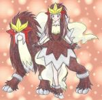 1girl anklet bracelet breasts brown brown_background brown_dress brown_eyes brown_hair chikorita85 collarbone dress entei expressionless hair_over_shoulder jewelry long_hair moemon outstretched_arms personification pokemon pokemon_(creature) pokemon_(game) pokemon_gsc puffy_dress sleeveless sleeveless_dress small_breasts standing straight_hair tiptoes traditional_media white_footwear
