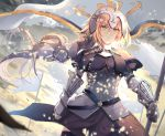 1girl armor armored_dress banner black_dress black_legwear blonde_hair breasts breasts_apart cowboy_shot day dress eyebrows_visible_through_hair fate/apocrypha fate_(series) floating_hair gauntlets green_eyes hair_between_eyes highres holding holding_weapon jeanne_d'arc_(fate) jeanne_d'arc_(fate)_(all) large_breasts long_hair neko-hime_(neko-hime) outdoors ponytail solo standing thigh-highs very_long_hair weapon