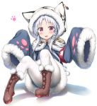 1girl :3 :d absurdres animal_ears animal_print armband azur_lane bangs blue_coat blush boots brown_footwear changchun_(azur_lane) commentary_request cross-laced_footwear eyebrows_visible_through_hair full_body fur-trimmed_boots fur-trimmed_sleeves fur_trim hair_ornament highres hood hood_up hooded_capelet lace-up_boots long_sleeves looking_at_viewer nedia_(nedia_region) open_mouth pantyhose parted_bangs red_eyes sidelocks silver_hair sitting sleeves_past_fingers sleeves_past_wrists smile solo striped tiger_ears tiger_hood tiger_print vertical_stripes violet_eyes white_background white_legwear wide_sleeves