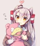 1girl :3 amatsukaze_(kantai_collection) bangs blush brown_background brown_dress brown_eyes closed_mouth crossover dress eyebrows_visible_through_hair fangs gloves hair_between_eyes hair_tubes hat heart holding kantai_collection long_hair mini_hat open_mouth pokemon pokemon_(creature) sailor_collar sailor_dress simple_background single_glove slowpoke smokestack tahya translation_request two_side_up very_long_hair white_gloves white_sailor_collar windsock
