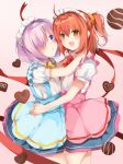 2girls ahoge blush chocolate commentary_request fate/grand_order fate_(series) fujimaru_ritsuka_(female) hair_between_eyes hair_ornament hair_over_one_eye hair_scrunchie heart holding looking_at_viewer mash_kyrielight multiple_girls one_side_up open_mouth orange_eyes orange_hair ponika purple_hair ribbon scrunchie short_hair side_ponytail skirt valentine yuri