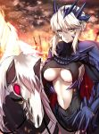 1girl armor artoria_pendragon_(all) artoria_pendragon_(lancer_alter) bangs black_leotard blue_armor braid breasts closed_mouth clouds cloudy_sky covered_collarbone crown dark_rhongomyniad eyebrows_visible_through_hair fate/grand_order fate_(series) fire french_braid gauntlets glowing glowing_weapon hair_between_eyes headgear highres horned_headwear horns horse horseback_riding lance large_breasts leotard looking_at_viewer navel pauldrons planted_sword planted_weapon platinum_blonde polearm red_eyes reins riding serious shiguru short_hair_with_long_locks sidelocks skull sky slit_pupils smoke sparks sword tsurime turtleneck under_boob weapon yellow_eyes
