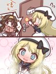 2girls :3 ahoge beret black_bow black_sailor_collar black_shirt blonde_hair blue_eyes blush bow brown_hair closed_mouth comic commentary_request crying crying_with_eyes_open door dress flying_sweatdrops gloves hat have_to_pee headgear indoors jervis_(kantai_collection) kantai_collection komakoma_(magicaltale) kongou_(kantai_collection) long_hair multiple_girls nontraditional_miko nose_blush open_mouth reading sailor_collar shirt tears toilet_use translation_request trembling very_long_hair violet_eyes wavy_mouth white_dress white_gloves white_hat