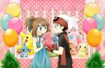 1boy 1girl balloon bare_arms beanie black_hair blue_dress blue_eyes blush brown_hair chikorita85 commentary couple dress fingerless_gloves gift giving gloves gulpin hair_ribbon hat heart_pattern hetero jigglypuff long_dress luvdisc marill mudkip odamaki_sapphire pikachu plant plusle pokemon pokemon_special polka_dot red_eyes ribbon ruby_(pokemon) short_hair sparkle standing stuffed_animal stuffed_toy torchic