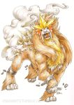 2015 endivinity entei no_humans pokemon pokemon_(creature) pokemon_(game) pokemon_gsc realistic signature simple_background solo watermark web_address white_background