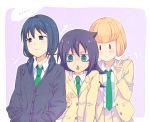 3girls black_eyes black_hair blonde_hair commentary_request green_eyes hakka0320 kuroki_tomoko multiple_girls necktie school_uniform sweater tamura_yuri ucchi_(watamote) v watashi_ga_motenai_no_wa_dou_kangaetemo_omaera_ga_warui! |_|