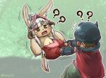1boy 1girl ? animal_ears bangs brown_hair cape chamaji commentary_request ears_through_headwear eyebrows_visible_through_hair facial_mark floating flying_sweatdrops furry grass hat helmet highres horned_helmet long_hair made_in_abyss mechanical_arms nanachi_(made_in_abyss) open_mouth pants paws pulling regu_(made_in_abyss) signature tail tree whiskers white_hair