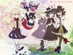 5girls black_hat blonde_hair blue_eyes blue_hair blush bow bowtie brown_eyes camera chocolate_hair commentary_request covering_mouth crossed_arms doremy_sweet dream_soul floating geta grass hand_over_own_mouth hat hat_bow hat_ribbon holding holding_camera juliet_sleeves katari kishin_sagume long_sleeves looking_at_another maribel_hearn mob_cap multiple_girls nightcap one_eye_closed one_leg_raised open_mouth pointy_ears pom_pom_(clothes) puffy_short_sleeves puffy_sleeves red_bow red_eyes red_hat ribbon shameimaru_aya short_hair short_sleeves silver_hair single_wing standing tengu-geta tokin_hat touhou translation_request upside-down usami_renko white_bow white_ribbon wings yellow_eyes