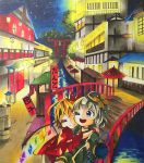 2girls blonde_hair blue_eyes bridge commentary_request eyeball flandre_scarlet gem glowing guard_rail highres hug komeiji_koishi light multiple_girls myfm_11 night night_sky one_eye_closed open_mouth oriental_umbrella short_hair sign silver_hair sky smile star_(sky) third_eye torii touhou traditional_media tree umbrella water wings