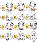 >_< 2girls :< :d :o :  ^_^ abigail_williams_(fate/grand_order) bangs blush bow closed_eyes closed_mouth commentary_request crying emoji emoticon expressions eyebrows_visible_through_hair facing_viewer fate/grand_order fate_(series) forehead hair_bow hat highres horn lavinia_whateley_(fate/grand_order) long_hair looking_at_viewer multiple_girls open_mouth orange_bow parted_bangs parted_lips partially_colored pink_eyes signature sleeping smile sofra sweat thinking upper_teeth v-shaped_eyebrows wavy_mouth zzz
