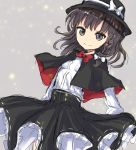 1girl bangs black_bow black_capelet bow bowtie braid brown_eyes brown_hair capelet coraman fedora grey_background hair_bow hat hat_bow high-waist_skirt light_particles long_sleeves looking_at_viewer medium_skirt petticoat red_bow red_neckwear shirt short_hair side_braid simple_background sketch skirt solo touhou usami_renko white_bow white_shirt