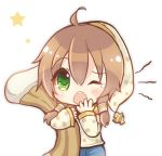 1girl ahoge bangs blue_pants blush copyright_request eyebrows_visible_through_hair green_eyes hair_between_eyes hand_to_own_mouth hat light_brown_hair long_hair long_sleeves looking_at_viewer low_twintails maodouzi nightcap object_hug one_eye_closed open_mouth pants polka_dot polka_dot_hat polka_dot_shirt shirt simple_background sleeves_past_wrists solo star tears twintails upper_teeth white_background white_hat white_shirt yawning