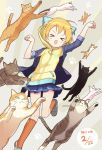 >_< 1girl :3 :d animal animal_hood black_footwear cat cat_day cat_hood closed_eyes dated hood hooded_jacket hoshizora_rin jacket jumping kneehighs love_live! love_live!_school_idol_project navy_blue_skirt open_mouth orange_hair orange_legwear paw_pose paw_print pleated_skirt rassie_s shoes short_hair skirt sleeves_folded_up smile solo too_many too_many_cats v-shaped_eyebrows x3 xd