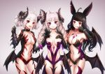 3girls ahoge animal_ears black_gloves black_hair braid breasts cleavage collar collarbone cowboy_shot demon_girl dungeon_and_fighter elbow_gloves facial_mark gloves gradient gradient_background horns long_hair looking_at_viewer lunacle medium_breasts multiple_girls nyarly_the_forbidden open_mouth red_eyes revealing_clothes short_hair smile standing succubus twin_braids twintails violet_eyes white_hair wings