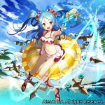 1girl :d aiming armpits bare_shoulders bikini blue_hair blue_sky blush breasts clouds cloudy_sky commentary_request day fisheye frilled_bikini frills hair_ornament hair_scrunchie holding innertube looking_at_viewer matsui_hiroaki navel ocean official_art open_mouth outdoors palm_tree red_eyes scrunchie sitting sky small_breasts smile solo swimsuit tree twintails valkyrie_connect water_gun watermark white_bikini wristband
