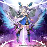 1girl armor aura bare_shoulders blue_eyes boots breasts closed_mouth greaves head_wings looking_at_viewer matsui_hiroaki medium_breasts official_art purple_hair solo standing twintails valkyrie_connect watermark wings