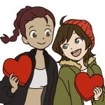 2girls ahoge beanie braid brown_eyes brown_hair devilman devilman_crybaby green_eyes hat heart jacket kuroda_miki long_hair looking_at_another makimura_miki midriff multiple_girls official_art open_clothes open_jacket short_hair simple_background single_braid smile sports_bra tan upper_body valentine white_background