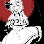 1girl background_text brooch collared_shirt commentary cowboy_shot fang hat hat_ribbon holding holding_umbrella jewelry looking_at_viewer medium_skirt mefomefo mob_cap open_mouth partially_colored puffy_short_sleeves puffy_sleeves red_eyes remilia_scarlet ribbon shirt short_hair short_sleeves solo teeth the_embodiment_of_scarlet_devil touhou umbrella wrist_cuffs