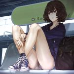 1girl bag bare_legs bench bob_cut brown_eyes brown_hair commentary hood hoodie legs_up messy_hair original panties pantyshot pantyshot_(sitting) shoes shorts sitting sneakers solo train_station_platform underwear yasukura_(shibu11)