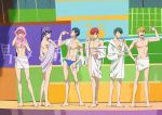 6+boys ;) barefoot blonde_hair blue_hair bottle brothers f6 glasses green_hair hand_on_hip lineup looking_at_viewer male_focus male_swimwear matsuno_choromatsu matsuno_ichimatsu matsuno_juushimatsu matsuno_karamatsu matsuno_osomatsu matsuno_todomatsu multiple_boys naked_towel off_shoulder official_art one_eye_closed osomatsu-kun osomatsu-san pink_hair purple_hair redhead removing_eyewear robe sextuplets siblings smile swim_briefs swimwear towel undressing