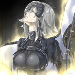 1girl armor armored_dress bangs black_dress chains commentary_request dress eyebrows_visible_through_hair fate/apocrypha fate/grand_order fate_(series) gauntlets hair_between_eyes headpiece holding jeanne_d'arc_(alter)_(fate) jeanne_d'arc_(fate)_(all) looking_away looking_up parted_lips profile silver_hair solo sparkle twitter_username yellow_eyes yyo