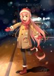 1girl 2017 :o ankle_boots artist_name beanie blurry blurry_background blush boots brown_eyes coat eyebrows_visible_through_hair full_body fur-trimmed_boots fur_trim hair_ornament hairclip happy_new_year hat light long_hair long_sleeves mittens new_year night night_sky noodle-y open_mouth original outdoors pink_hair pocket red_footwear red_scarf road scarf shadow signature sky solo standing standing_on_one_leg street very_long_hair winter_clothes winter_coat