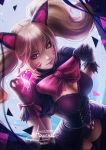 1girl alexandra_mae animal_ears artist_name black_cat_d.va black_dress black_gloves black_legwear blonde_hair bow bowtie breasts brown_eyes cat_ears cleavage cleavage_cutout closed_mouth d.va_(overwatch) dress dutch_angle facial_mark from_above gloves glowing heart holding large_breasts lips long_hair looking_up overwatch pearl pink_bow puffy_short_sleeves puffy_sleeves short_sleeves signature smile solo standing thigh-highs twintails whisker_markings