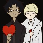 2boys asuka_ryou black_background black_hair blonde_hair blue_eyes brown_eyes cleft_chin devilman devilman_crybaby fudou_akira heart hiding jitome looking_to_the_side male_focus multiple_boys official_art simple_background valentine white_coat