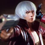 1boy blurry dante_(devil_may_cry) depth_of_field devil_may_cry devil_may_cry_3 face gun handgun highres ilya_kuvshinov jacket lips male_focus open_clothes open_jacket red_jacket solo upper_body weapon white_hair