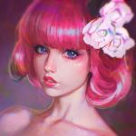 1girl anastasia_ditmar bangs bare_shoulders blue_eyes blunt_bangs face flower hair_flower hair_ornament highres ilya_kuvshinov lips lipstick looking_at_viewer makeup parted_lips pink_hair portrait real_life realistic rose short_hair simple_background solo white_flower white_rose