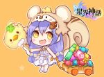 1girl :d acorn_hair_ornament animal_ears animal_hood bangs bare_arms bare_shoulders barefoot blush_stickers bow candy candy_wrapper chibi commentary_request copyright_request dress eyebrows_visible_through_hair flower food hair_between_eyes hair_ornament holding hood hood_up lollipop long_hair looking_at_viewer maodouzi open_mouth orange_background purple_hair ramune sleeveless sleeveless_dress smile solo squirrel_ears squirrel_hood squirrel_tail standing star sweets tail very_long_hair white_dress white_flower yellow_bow yellow_eyes