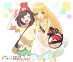 2girls bag beanie black_hair blonde_hair braid collaboration dress duffel_bag green_eyes green_shorts handbag hat lillie_(pokemon) long_hair mizuki_(pokemon_sm) multiple_girls one_eye_closed open_mouth poke_ball_theme pokemon pokemon_(game) pokemon_sm red_hat see-through shirt short_hair short_sleeves shorts sleeveless sleeveless_dress sun_hat tea_hiyo tied_shirt twin_braids unapoppo white_dress white_hat