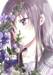 1girl bangs blush collarbone eyebrows_visible_through_hair flower grey_hair grey_sailor_collar head_tilt leaf lips long_hair original parted_lips purple_flower sailor_collar saya_(mychristian2) shiny shiny_hair simple_background smile solo violet_eyes white_background white_flower