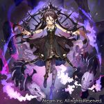 1girl aura black_dress blush bracelet brown_eyes brown_hair brown_legwear closed_mouth commentary_request crown dress floating jewelry long_hair looking_at_viewer magic matsui_hiroaki official_art outstretched_arms pantyhose pointy_ears skull solo spread_arms valkyrie_connect watermark