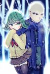 1boy 1girl bald bangs black_legwear blue_coat blue_pants blue_scarf blush brown_skirt cardigan closed_mouth commentary_request diagonal_stripes eyebrows_visible_through_hair fringe green_eyes green_hair green_sweater hair_between_eyes long_hair long_sleeves maodouzi neckerchief one-punch_man outdoors pants plaid plaid_skirt pleated_skirt red_neckwear saitama_(one-punch_man) scarf school_uniform skirt sleeves_past_fingers sleeves_past_wrists snow snowing striped striped_scarf tatsumaki thigh-highs
