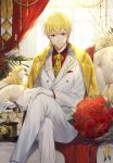 1boy adapted_costume blonde_hair bottle bouquet chains closed_mouth corded_phone couch cup day drinking_glass earrings ekita_xuan fate/grand_order fate_(series) feet_out_of_frame flower formal gilgamesh gloves hand_on_own_knee highres indoors jacket jewelry legs_crossed lock lock_earrings long_sleeves looking_at_viewer male_focus necktie pants phone red_eyes red_flower red_rose red_shirt rose shirt sitting smile solo suit tray white_gloves white_jacket white_pants window wing_collar yellow_neckwear