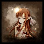 1girl arm_strap asuna_(sao) backlighting bangs bare_shoulders braid breasts brown_eyes brown_hair french_braid from_side hair_ribbon long_hair looking_at_viewer looking_to_the_side medium_breasts noodle-y parted_lips pointy_ears portrait ribbon solo sword_art_online upper_body