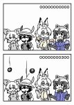 animal_ears bow bowtie comic common_raccoon_(kemono_friends) fennec_(kemono_friends) fox_ears fur_collar hat_feather helmet japari_symbol kaban_(kemono_friends) kemono_friends pith_helmet raccoon_ears seki_(red_shine) serval_(kemono_friends) serval_ears serval_print shirt sleeveless sleeveless_shirt striped_tail translation_request