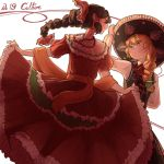 2girls alternate_costume alternate_hairstyle blonde_hair braid brown_hair dress eye_contact hakurei_reimu hat kirisame_marisa long_hair looking_at_another mariachi mefomefo mexican mexican_dress multiple_girls single_braid skirt_hold smile sombrero touhou yellow_eyes yuri