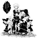 >_< ^_^ baby black_dress blush carrying child closed_eyes dress embarrassed family hair_grab hat looking_at_viewer majo_shuukai_de_aimashou multiple_boys multiple_girls original peeking_out pregnant sweat sweating_profusely takura_mahiro too_many translation_request witch witch_hat