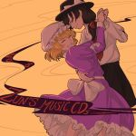 2girls ^_^ black_hat black_skirt blonde_hair bow brown_hair closed_eyes collared_shirt commentary cowboy_shot dancing dress ear english from_side grin hand_on_another's_hip hands_together hat hat_bow hat_ribbon juliet_sleeves long_sleeves maribel_hearn mefomefo mob_cap multiple_girls necktie petticoat puffy_sleeves purple_dress purple_ribbon red_neckwear ribbon sash shirt short_hair side_ponytail skirt smile teeth usami_renko white_bow white_shirt