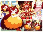 2girls blonde_hair blue_eyes boots bow breasts cosplay demon_girl dress drill_hair eyelashes facial_mark fangs hair_bow hair_over_one_eye harime_nui harime_nui_(cosplay) heart hekapoo high_heel_boots high_heels horns kill_la_kill large_breasts long_dress long_hair looking_at_viewer matoi_ryuuko matoi_ryuuko_(cosplay) multiple_girls multiple_views one_eye_closed orange_dress orange_hair pink_bow pink_dress pink_footwear pink_umbrella pointy_ears polearm redhead scissors short_dress spear star_butterfly star_vs_the_forces_of_evil strapless strapless_dress tiara twin_drills very_long_hair weapon yajip