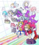 +_+ 6+girls alice_margatroid alice_margatroid_(pc-98) angel_wings animal_ears apron aqua_hair ascot bat_ears bat_wings blonde_hair blue_eyes blue_hair blush_stickers book bow capelet chamaji character_request collared_shirt commentary_request fairy_wings flying frills grid_background hair_bobbles hair_ornament hairband hand_to_own_mouth hat hat_bow hat_ribbon highres hug hug_from_behind long_hair long_sleeves luggage luize mai_(touhou) maid maid_apron maid_headdress mary_janes multiple_girls mystic_square neck_ribbon one_eye_closed pink_eyes pink_hair pom_pom_(clothes) red_sclera redhead ribbon round_teeth sara_(touhou) shawl shinki shirt shoes short_hair short_sleeves side_ponytail skirt skirt_set smile socks suitcase teeth touhou touhou_(pc-98) twitter_username violet_eyes wide_sleeves wings yellow_eyes yuki_(touhou) yumeko