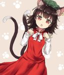 1girl :o alternate_hair_length alternate_hairstyle animal_ears brown_hair cat_ears cat_tail chen chinese_clothes coraman extra_ears green_hat hands_up hat jewelry long_sleeves looking_at_viewer medium_hair multiple_tails paw_background red_eyes red_skirt single_earring skirt skirt_set slit_pupils solo tail touhou two_tails vest white_neckwear