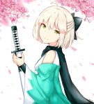 1girl ahoge artist_name black_bow black_scarf bow cherry_blossoms closed_mouth commentary_request detached_sleeves fate/grand_order fate_(series) green_eyes hair_bow half_updo head_tilt holding holding_sheath japanese_clothes katana kimono light_brown_hair long_sleeves looking_at_viewer looking_to_the_side okita_souji_(fate) petals rocm_(nkkf3785) scarf sheath sheathed short_hair sleeveless sleeveless_kimono smile solo sword weapon white_background wide_sleeves