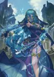 1girl absurdres aqua_(fire_emblem_if) armor armpits bare_shoulders black_panties blue_bow blue_dress blue_gloves blue_hair bow breasts building closed_mouth clouds day dress elbow_gloves feet_out_of_frame fingerless_gloves fire_emblem fire_emblem_if gloves green_eyes hair_between_eyes hair_tubes hairband highres hydrokinesis knight long_hair looking_at_viewer low-tied_long_hair magician_(china) medium_breasts outdoors outstretched_arms panties purple_legwear revision see-through single_thighhigh small_breasts smile solo solo_focus spread_arms thigh-highs thigh_strap v-shaped_eyebrows veil very_long_hair water