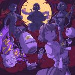 4girls ;p collared_shirt commentary crossed_arms cup drum drumsticks full_moon geta haze holding horikawa_raiko instrument jacket juliet_sleeves karakasa_obake lantern long_sleeves mefomefo moon multiple_girls music necktie new_mask_of_hope one_eye_closed partially_colored playing_instrument puffy_sleeves red_eyes sandals scroll shirt short_hair short_sleeves skirt skirt_set sleeves_rolled_up tatara_kogasa teacup teapot tongue tongue_out touhou tsukumo_benben tsukumo_yatsuhashi tsukumogami umbrella yellow_eyes youkai